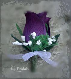 Purple Eggplant Rose Boutonniere Silk WEDDING Flowers Groom/Groomsmen. $3.25, via Etsy.