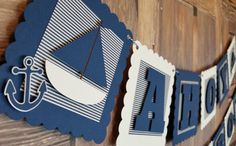 Nautical Baby Shower Banner, Ahoy It's A Boy Shower Banner, Nautical Banner… Baby Shower Decorations For Boys, Boy Baby Shower Themes, Baby Shower Balloons, Baby Shower Centerpieces, Baby Boy Shower, Baby Showers, Baby Shower Photo Booth, Fotos Baby Shower, Baby Shower Photos