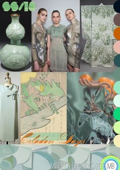 """Inspiration Information © Mirella Bruno Print Trend Designs 2016. Directions for SS/18 future personal projects.  """" Celadon Days ."""" Created 01/03/16. http://cargocollective.com/mirella-bruno-print-designs/Inspiration-Information"""