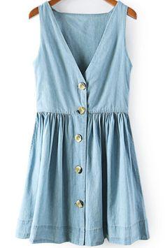 robe en jean V col sans manche -French SheIn(Sheinside)