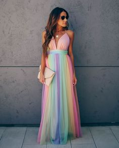 Our stunning Wonderland Rainbow Striped Maxi Dress is a dream! Featuring a pleated tulle overlay in stripes of bright pink, orange, lime green, purple, yellow and blue. A plunging v-neckline complements the fit and flare silhouette. Boho Dress, Dress Skirt, Dress Up, Rainbow Wedding, Summer Wedding, Striped Maxi Dresses, Maxi Dresses Summer Beach, Striped Jumpsuit, Prom Dresses
