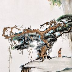 Items similar to Chinese Landscape Painting of Mountains and River for Wall Decor Interior on Etsy Chinese Landscape Painting, Chinese Painting, Chinese Art, Landscape Paintings, Asian Artwork, Tree Trunks, Mountain Paintings, Pine Tree, Japanese Art