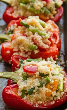 Quinoa Stuffed Peppers ~ This recipe makes a great light lunch or healthy side dish.