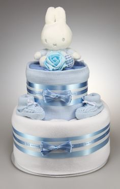 Blue Miffy 2 Tier Nappy Cake - Perfect As a Gift for Any New Arrival or As A Baby Shower Gift