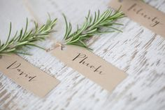 Lovely escort cards idea, with a lavender sprig or an olive branch Wedding Place Names, Wedding Name Cards, Wedding Places, Our Wedding, Wedding Tables, Table Seating Cards, Wedding Seating Cards, Table Cards, Deco Floral
