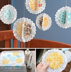Paper doily decor for a Tea Party; use brown paper the same as the invite paper and also use a peach/rose color, since she likes that. These can easily hang from the church basement ceiling.