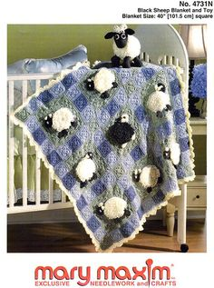 Mary Maxim - Black Sheep Blanket and Toy Pattern Crochet Sheep, Baby Afghan Crochet, Knitted Afghans, Crochet Blankets, Baby Afghans, Easy Knitting Patterns, Afghan Crochet Patterns, Blanket Shawl, Animal Quilts