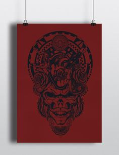 LE Juicy Venom Vermillion and Dark Blue Skull Screen Print