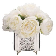 silk flower centerpieces peonies and silver | White And Cream Phalaenopsis Orchid In A Porcelain Blue And White Bow