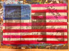 Good for Veteran's Day art projects. Jasper Johns, collage, SS connections, AB patterning, horizontal, ...: --- newspaper patriotism flag art