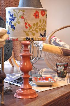 Old brass lamp makeover with spray paint and fabric