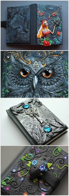 "Yes, it is polymer clay - Journals by Etsy seller MyMandarinDucky. She makes some amazing things!""--Polymer Clay on a journal."" I love the owl one! Polymer Clay Kunst, Fimo Clay, Polymer Clay Projects, Polymer Clay Creations, Diy Fimo, Ideias Diy, Clay Charms, Journal Covers, Clay Tutorials"