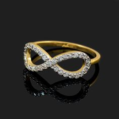 Gold Diamond Infinity Ring Yellow Gold Rings, White Gold Diamonds, Rose Gold Infinity Ring, Infinity Rings, Commitment Rings, Mother Rings, Personalized Rings, Birthstone Jewelry, Gemstone Rings