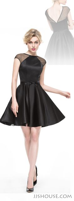 A new classic little black dress came! This A- line short satin dress with bow and fun illusoin neckline will be a must-have in your wardrobe. #JJsHouse
