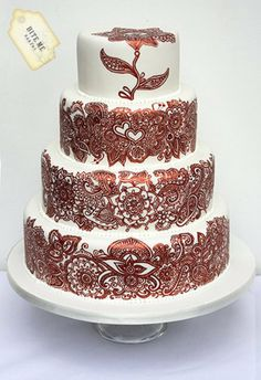 All Hand painted Wedding Cake   ~  Henna Designed  ~ all edible