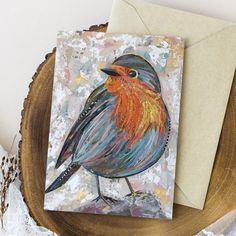 Collage Artwork, Collage Artists, Bird Paintings, Robin Bird, Torn Paper, Shape And Form, Envelopes, Postcards, Art Pieces