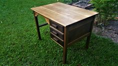 Solid timber vintage desk with 3 drawers & timber pulls. sturdy, studious, and in great condition. Writing Desk, Antiques, Table, Furniture, Vintage, Home Decor, Antiquities, Desktop, Antique