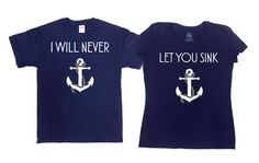 Matching Sailing T-Shirts - Anchor Shirt - Boating T Shirt - Nautical T Shirt - Great Gift for Best Friends, Couples or Siblings! - Price advertised includes a 2 Piece Matching Set (2 T-Shirts). - Default colors are Navy Blue - If you prefer a different color, please refer to color chart in 3rd image listing. - Please leave a note upon checkout if you would like a different color. _______________________________________________________ All t-shirts are printed on 100% High Quality…