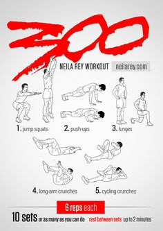 300 Workout / 2014 Revised / Works: Quads, chest, triceps, lower abs, upper abs