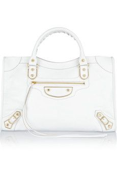 White textured-leather (Goat) Zip fastening along top Designer color: Blanc/ Extra Blanc Weighs approximately Balenciaga Dress, Balenciaga City Bag, White City, Gold Studs, Beautiful Bags, Designer Shoes, Style Icons, Christian Louboutin, White Bags