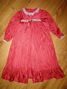 Girl's Laura Dare Red Silky Nylon Gown Nightgown Pegnoir Set Size 3T 4T ?