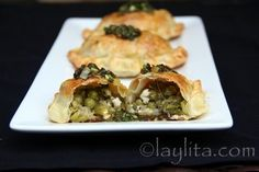 Asparagus, fava beans, peas and goat cheese empanadas with chimichurri sauce