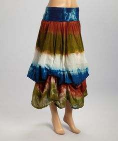 Another great find on #zulily! Blue Tie-Dye Fold-Over Skirt #zulilyfinds