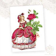 Marie Antoinette Greeting Card French Red Roses by mulberrymuse