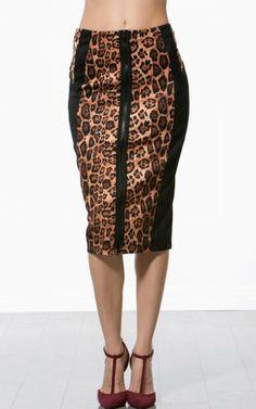 Leopard Print Block Zipper Skirt