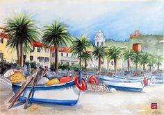 """Noli, Savona "" acquerello 35x51 di Lorenza Pasquali Paintings www.lorenzapasquali.it Copyright © Lorenza Pasquali- —"