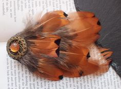 Pheasant Feather Steampunk Hair Clip with Gold Cogs and Bronze Gem and Copper, Orange Feathers. Bohemian, Hippy, Festival Fashion Accessory. by FindingUlysses on Etsy