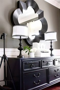 Show Off ***love the black and white with touch of red. Curtains are easy to make