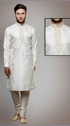 Magnificent Stone Work Neck White Brocade Kurta Payjama DTWKP6060  Precious white brocade kurta payjama which is beautifully made with stone and cut dana work. Stole and mojari can be purchased additionally. They are not a part of this kurta payjama. Any biggest size possible. Extra charges will be charged for size 44 to 50