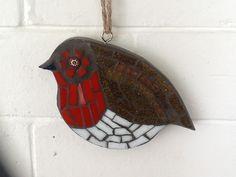 LorraineUdellMosaics  Roosting robin redbreast