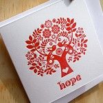 "Letterpress Christmas Card Scandinavian Folk Style Red Tree of Life ""Hope"" - by Fluid_Ink on madeit"