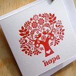 "Letterpress Christmas Card Scandinavian Folk Style Red Tree of Life ""Hope"" - by Fluid_Ink on madeit"