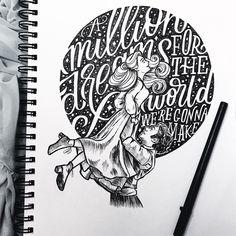 """A Million Dreams from """"The Greatest Showman"""" // artwork by Jillian Kaye, www.jilliankayeart.com"""
