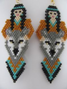 Hand Beaded Indian Maiden and Grey Wolf dangling by beadfairy1