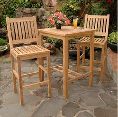 This is a great teak patio bar set with 2 bar chairs and 1 square teak bar table. The 3 piece teak outdoor patio bar set is constructed of quality Grade-A teak. The bar chairs are available with or without Sunbrella seat cushions. Patio Bar Table, Bar Table Sets, Bar Chairs, Bar Tables, Eames Chairs, Patio Bench, Desk Chairs, Office Chairs, Room Chairs