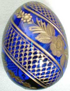 Decorative Eggs - Blue & Gold Crystal Egg Russian