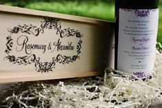 Wine bottle wedding invitations with screen printed delivery boxes