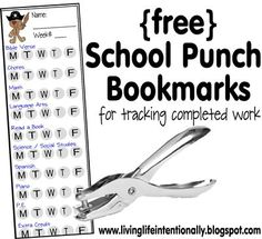 Free School Punch Bookmarks - Help #homeschoolers organize day-to-day tasks. When your child is done with a subject (or task) they just punch the hole. Now you can see when things are done and it is fun to finish too!