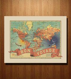 Bon Voyage Map Print