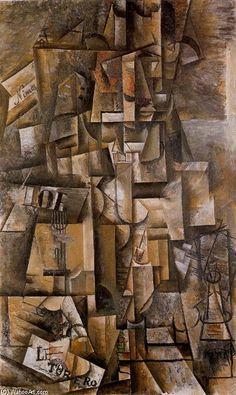 'El Aficionado Sorgues', 1912 oleo sobre lienzo. Picasso(1881-1973)135x82cm Basilea