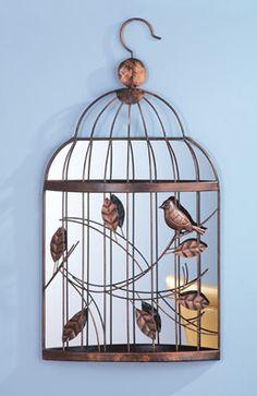Vintage Mirrored Birdcage Wall Decor