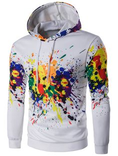 Colorful Splash-Ink Printed Long Sleeve Hoodie