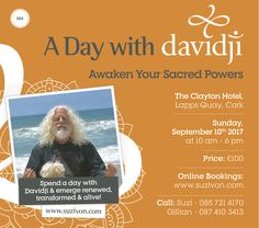 If you are finding yourself at a crossroads, a fork in your path, a dead end, or a place of confusion, allow davidji & these teachings to be a soothing balm to your pain.. a light of hope in your darkness.. and a whisper of clarity & comfort to your heart. Sign up today!!! Venue: The Clayton Hotel, Lapps Quay, Cork Time: 10am – 6pm Date: September 10, 2017 Admission: €100