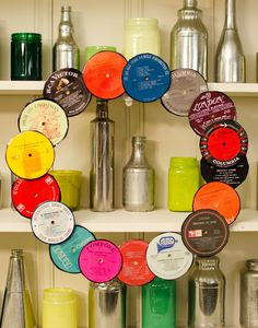 """Retro Wreath w/ Vintage Records. Get ideas and see how you can """"Pin to Win"""" from DIYNetwork.com! http://www.diynetwork.com/great-wreath-rivalry/package/index.html?soc=pinterest-greatwreath"""