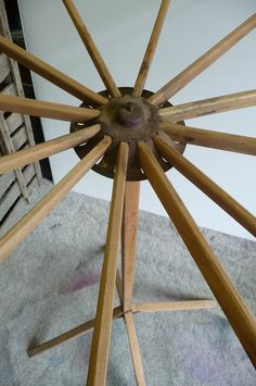 Antique Drying Rack Fold Out Clothes Standing Tripod Primitive Vintage Wood  Spins Display