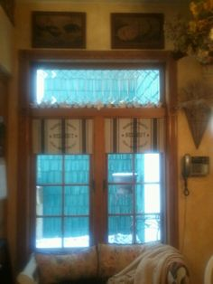 "I created new valances for my ""french"" country farmhouse kitchen - they are sewn from 2 linen french texted towels that I purchased at TJMaxx -   they are self-lined  with the towel itself & hung on tension rods - Just what I wanted but could not find until I visited TJMaxx with a vision for my window !"